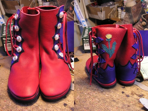 red and purple bullhide with thistle & polished antler buttons